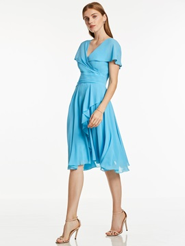 Simple V Neck Short Sleeves A Line Cocktail Dress & Bridesmaid Dresses under 300