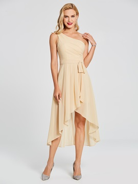 Pure One Shoulder Bowknot High Low Bridesmaid Dress