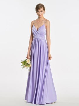 Spaghetti Straps A-Line Ruched Long Bridesmaid Dress