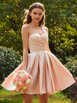 One Shoulder Beaded Lace Short Bridesmaid Dress