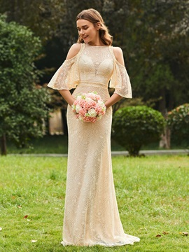 Cold Shoulder Pearls Column Lace Bridesmaid Dress & simple Bridesmaid Dresses