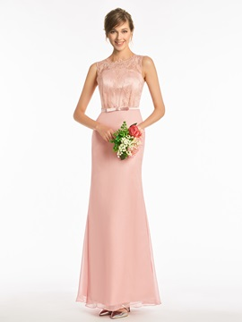 Straps Column Lace Bridesmaid Dress