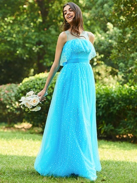 Illusion Straps Dot Tulle Sashes Bridesmaid Dress