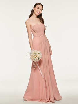 Pleats Lace Long Bridesmaid Dress