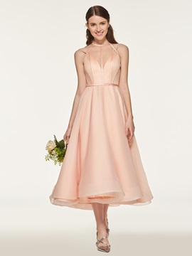 Straps A-Line Tea-Length Bridemaid Dress