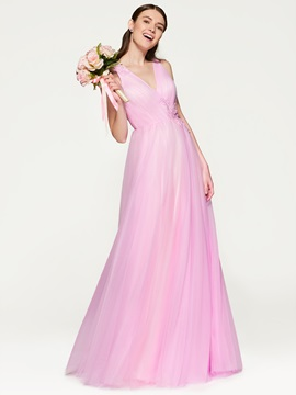 Criss-Cross Straps Beading Bridesmaid Dress