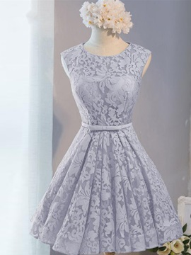 Lace-Up Short Lace Bridesmaid Dress