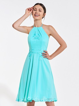 Halter Appliques Sequins Backless Bridesmaid Dress