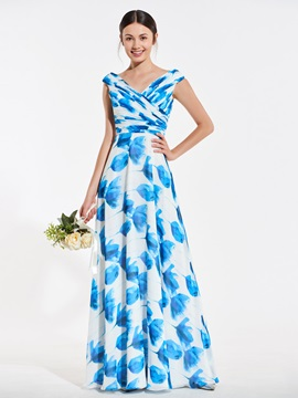 A-Line V-Neck Printed Bridesmaid Dress