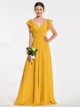 Deep V-Back Ruffles Sleeves Bridesmaid Dress & Bridesmaid Dresses 2012