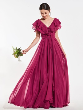 Ruffles Cap Sleeves V-Neck Long Bridesmaid Dress