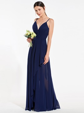 Spaghetti Straps Asymmetrical Bridesmaid Dress
