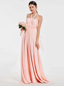 Halter A-Line Ruched Backless Bridesmaid Dress