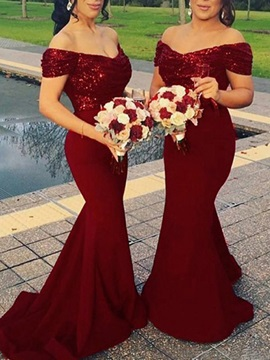 Off-The-Shoulder Draped Mermaid Sequins Bridesmaid Dress & Bridesmaid Dresses online