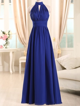 High Neck Pleats Long Bridesmaid Dress