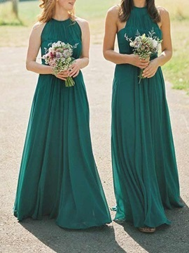 Pleats Halter Long Bridesmaid Dress