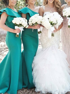 Mermaid Tiered Cap Sleeves Long Bridesmaid Dress