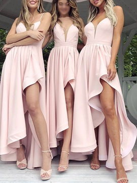 A-Line Spaghetti Straps Split-Front Bridesmaid Dress