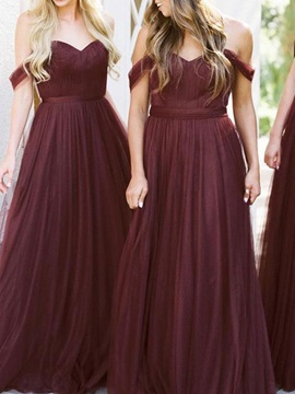 Off-The-Shoulder A-Line Pleats Bridesmaid Dress 2019