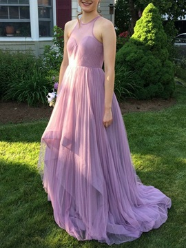 Halter A-Line Pleats Long Bridesmaid Dress 2019 & vintage Bridesmaid Dresses