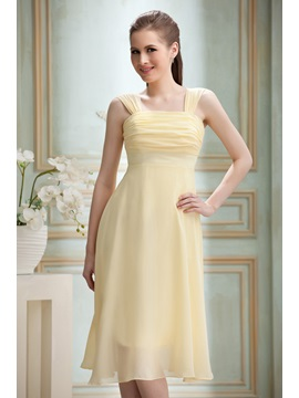 Cheap Ruched A-Line Knee-length Square Neckline Nadya's Bridesmaid/Homecoming Dress & Bridesmaid Dresses under 300