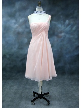 Charming Ruched A-Line One-Shoulder Knee-length Bridesmaid Dress & fairy Bridesmaid Dresses