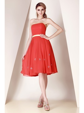Pure A-Line Beading Sashes Bowknot Strapless Knee-Length Dasha's Homecoming Dress & colored Bridesmaid Dresses