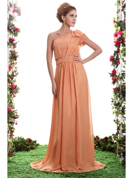 Graceful A-Line Ruffles One-Shoulder Floor-Length Sasha's Bridesmaid Dress & discount Bridesmaid Dresses
