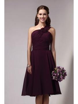 Pretty One-Shoulder Knee-Length Flower Sandra's Bridesmaid Dress & vintage Bridesmaid Dresses