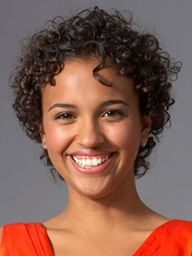 Attractive African American Hairstyle Short Curly Black Lace Wig 100% Human Hair Beautiful