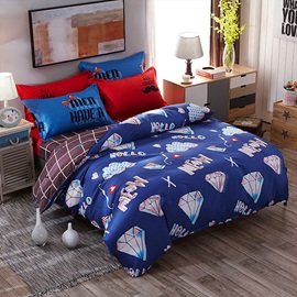 Wannaus Dark Blue Diamond and Multi Patterns Polyester 4-Piece Neutral Bedding Sets