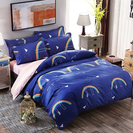 Wannaus Dark Blue Rainbow and Rabbit Prints Polyester 4-Piece Neutral Bedding Sets