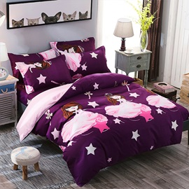 Wannaus Pink Sweet Princess Prints Polyester 4-Piece Purple Bedding Sets/Duvet Cover