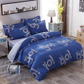 Wannaus Shining Let's Go Prints Polyester 4-Piece Dark Blue Bedding Sets/Duvet Covers