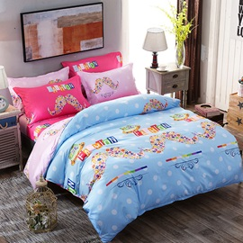 Wannaus Flowers Mustaches Prints Polyester 4-Piece Light Blue Bedding Sets/Duvet Covers