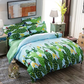 Wannaus Green Cactus and Dandelion Printed Polyester Duvet Covers/Bedding Set