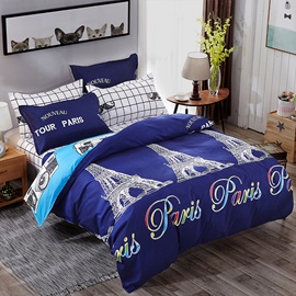Wannaus Classic Eiffel Tower Prints Polyester 4-Piece Dark Blue Bedding Sets/Duvet Cover