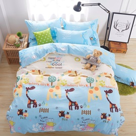 Wannaus Lovely Cartoon World Pattern Kids Cotton 4-Piece Duvet Cover Sets