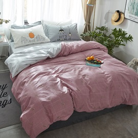 Wannaus Nordic Style Grid Printed Cotton Pink Kids Duvet Covers/Bedding Sets