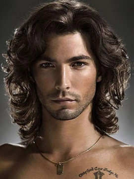 Fashionable Shoulder Length Curly Lace Front Human Hair Wig for Men 12 Inches