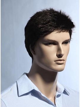 Short Straight Dark Brown Synthetic Wig For Men