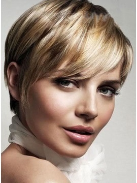 Short Hairstyle Elegant 100% Human Remy Hair Cheap Wig about 6 Inches