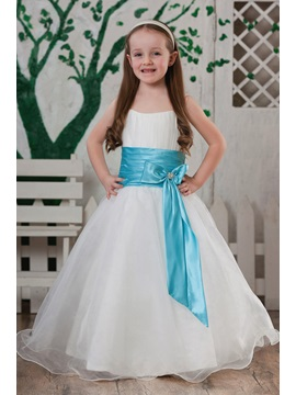 Spaghetti Straps Sashes Flower Girl Dress