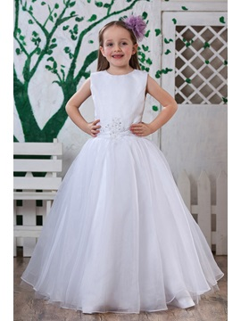 Pure A-Line Round-neck Appliques Sashes Flower Girl Dress & attractive Flower Girl Dresses