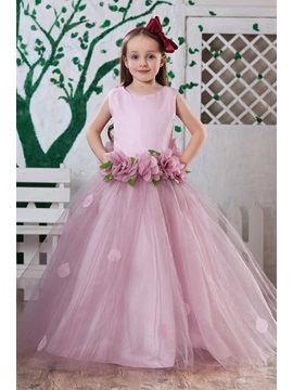 Attractive Ball Gown Floor-length Round-neck Flowers Embellishing Flower Girl Dress & Flower Girl Dresses for sale