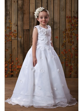 Beautiful Scoop Neck Flowers Beading Girl's Party Dress & colored Flower Girl Dresses