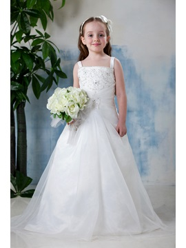 Square Neck A-Line Sequins Embroidery Flower Girl Dress
