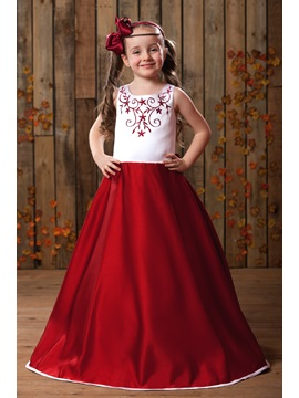 Cute A-line Floor-Length Scoop Neckline Embroideery Flower Girl Dress & discount Flower Girl Dresses