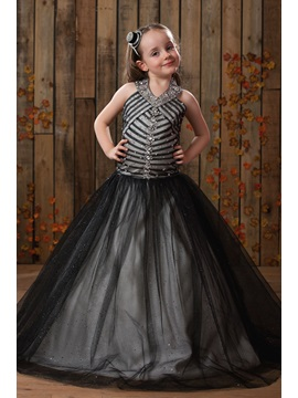 Vintage HalterBeaded Long Black Flower Girl Dress & Flower Girl Dresses 2012