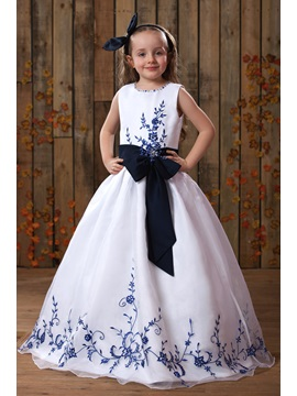 Floor-length A-line Embroidery Scoop Flower Girl Dress
